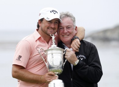 Graeme McDowell celebrates his 2010 US Open victory at Pebble Beach with his father Kenny.