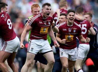 Westmeath players celebrate a famous victory at full-time.