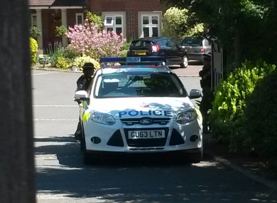 A police car outside the home of Lisa and Ava Anthony in Esher, Surrey, this morning