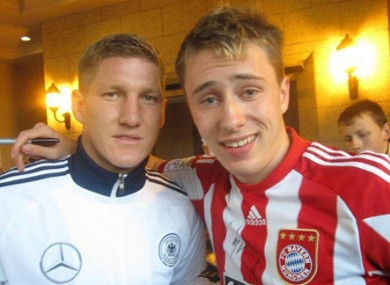 New Man United signing Bastian Schweinsteiger with Nick Schuster.