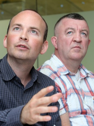 Paul Murphy (left) and Ken Purcell at a press conference oragnised by residents of Jobstown.