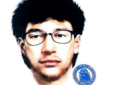 Police sketch of a man who left a backpack near the shrine shortly before the explosion.