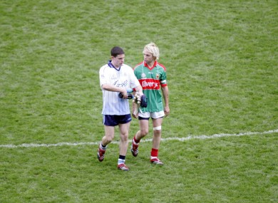 Stephen Cluxton and Conor Mortimer after the classic 2006 All-Ireland football semi-final.