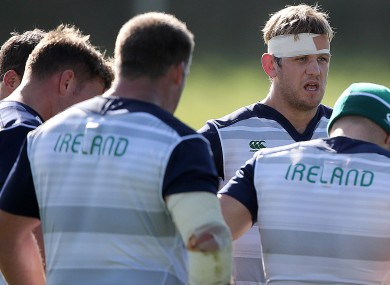 Chris Henry in training at St. George's Park today with the Irish squad.