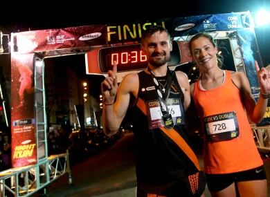 Sergiu Ciobanu and first place female Orla Drumm at last year's Samsung Night Run.