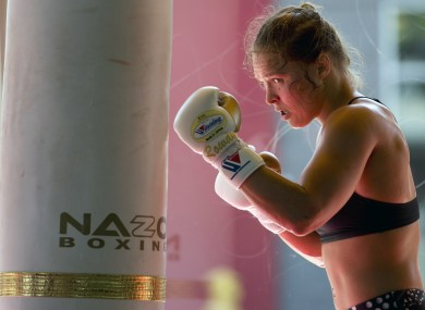 UFC star Ronda Rousey in training earlier this summer.