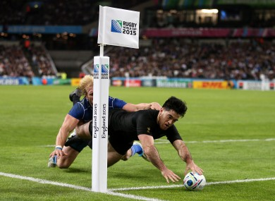 Nehe Milner Skudder scores the second of his two tries.