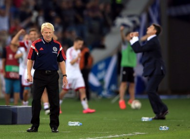 Scotland manager Gordon Strachan reacts at the final whistle during the UEFA European Championship Qualifying match at the Boris Paichadze Dinamo Arena, Tbilisi.