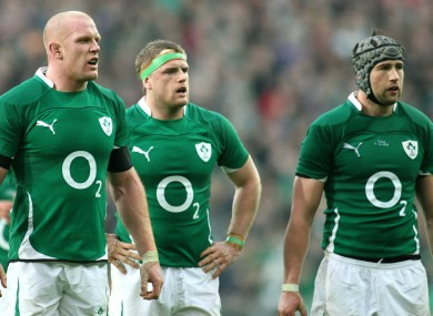 Paul O'Connell, Jamie Heaslip and Kevin McLaughlin pictured during McLaughlin's Ireland debut against Italy in 2010.