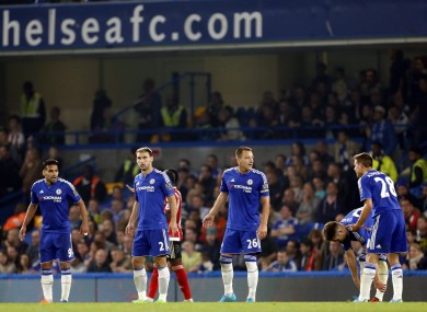 (From left to right) The Chelsea defensive line of Radamel Falcao, Branislav Ivanovic, John Terry, Gary Cahill and Cesar Azpilicueta during the Barclays Premier League match at Stamford Bridge.