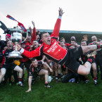 Oulart-The Ballagh's Ben O'Connor leads the celebrations after their long-awaited Leinster hurling final win.<span class=