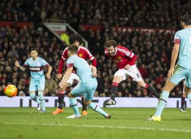 Juan Mata shoots off-target.