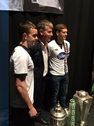 Benson and McEleney with manager Stephen Kenny this evening.