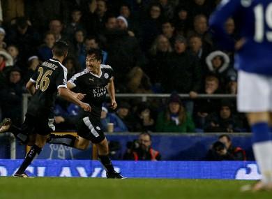 Shanji Okazaki celebrates scoring Leicester's third goal.