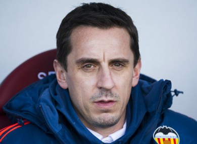 Valencia's Gary Neville.saw his side draw with Eibar in his first La Liga match at the weekend.