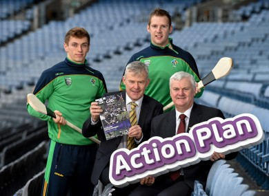 From left: Clare's David McInerney;  Paudie Ó Néill, chairman of the Hurling Development Committee; Aogán Ó Fearghail, GAA president  and Antrim hurler Neal McAuley,