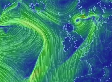 The wind picture off Ireland this morning.