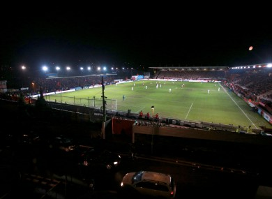 A general view during play of the Emirates FA Cup, third round match at St James Park, Exeter tonight.
