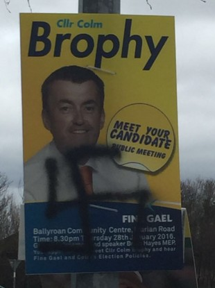 A swastika spray painted onto Colm Brophy's public meeting poster in Templeogue