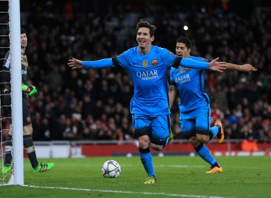 Messi scored against Petr Cech for the first time tonight... before adding a second.