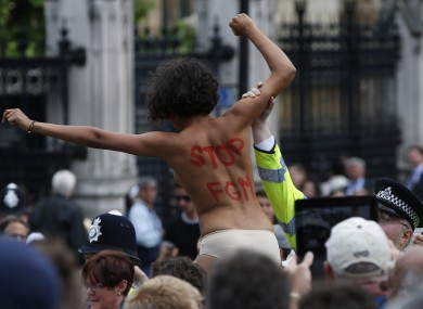 File photo of an activist from FEMEN group during a protest opposite the Houses of Parliament in central London.