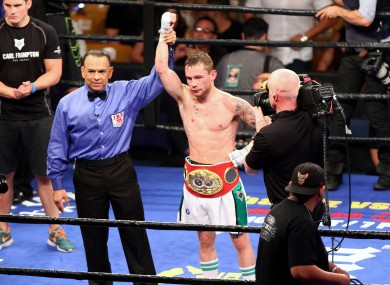 Carl Frampton celebrates beating Alejandro Gonzalez Jr last July.