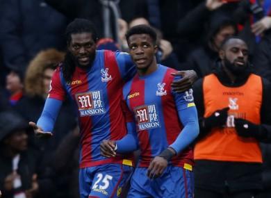 Adebayor celebrates with Zaha.