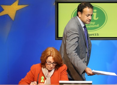 Kathleen Lynch and Leo Varadkar at a press conference (File photo)