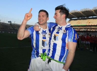 Conal Keaney and Michael Darragh MacAuley celebrate today's win.