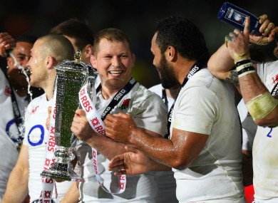 England captain Dylan Hartley leads Six Nations celebrations