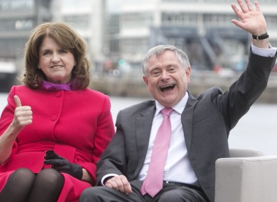 Joan Burton and Brendan Howlin during the election campaign.