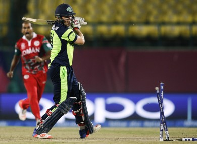 Gary Wilson shows his frustration on a forgettable day for Irish cricket.