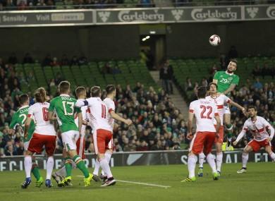 Ireland's Shane Duffy, right, wins the ball against Switzerland's Timm Klose during their international soccer friendly at the Aviva stadium last Friday.