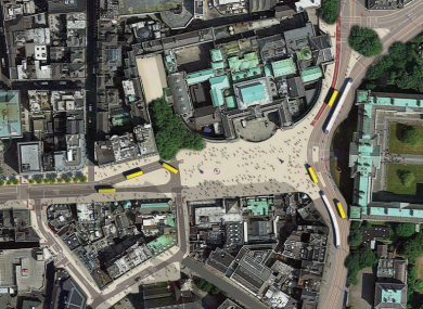 Layout of proposed College Green plaza area