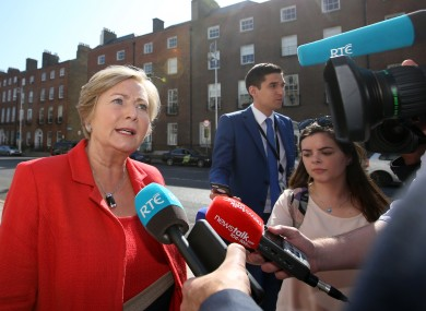 Frances Fitzgerald speaks to reporters this morning.