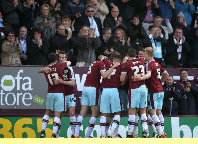 Burnley players celebrate.