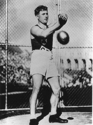 Pat O'Callaghan on his way to retaining gold at the 1932 Olympics.