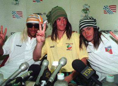Phil Babb, Gary Kelly and Jason McAteer pictured at a 1994 World Cup Republic of Ireland Press Conference.
