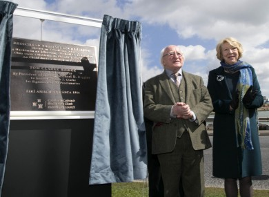 President Michael D Higgins and his wife Sabina at the commemoration of the Tom Clarke Bridge.