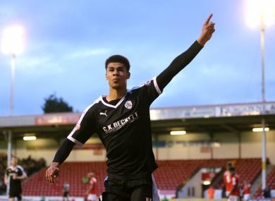 Ashley Fletcher celebrates scoring his side's second goal.