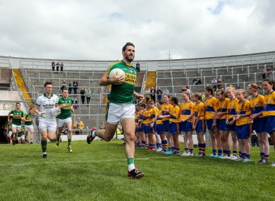 Bryan Sheehan leads out the Kerry team recently against Clare.