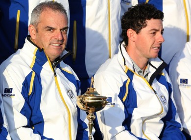 Paul McGinley and Rory McIlroy at the 2014 Ryder Cup.