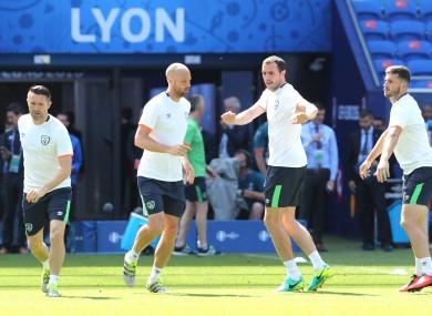 Robbie Keane, David Meyler, John O'Shea and Shane Long train at Parc Olympique Lyonnais.