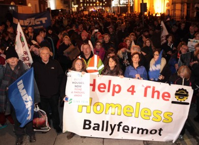 Homelessness has continued to increase since this protest in December.
