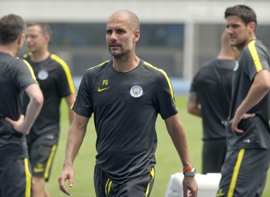 Guardiola during training this week.