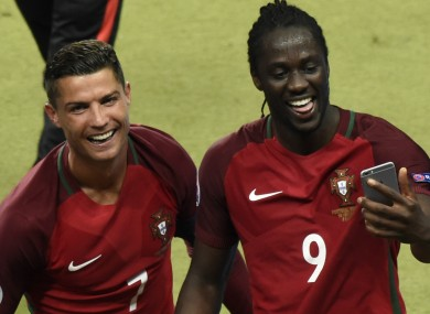 Cristiano Ronaldo celebrates with Eder after the Euro 2016 final 9206877421dd9