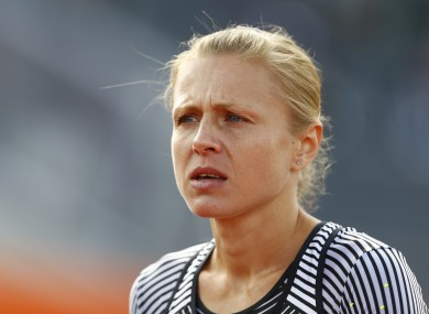 Russian doping whistleblower Yuliya Stepanova who runs under a neutral flag prepares a women's 800m heat during the European Athletics Championships in Amsterdam.