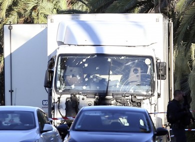 The truck which slammed into Bastille Day revellers on the promenade in Nice last night.
