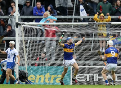 John McGrath celebrates scoring a goal for Tipperary