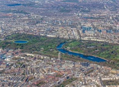 Hyde Park from the air, with the Serpentine to the right.